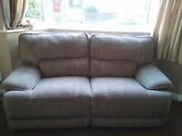 2 x 2 Seater Sofas, Electric recline sofas, beige/mocha in colour.