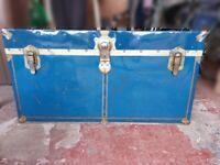 Vintage Metal Steamer Trunk / Blanket Box / Storage / Travel Luggage