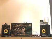 Krk rokit 5 monitors and studio setup