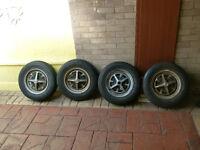 MG Midget Wheels & Tyres (4) Also fit Sprite, Morris 1000