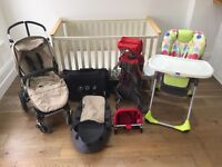 Baby bundle, bugaboo chameleon & carry case, John Lewis cotbed, highchair & Macpac carrier