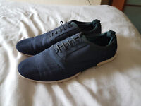 Mens ZARA suede navy casual shoes/trainers SIZE 9