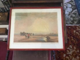 Watercolour of coastal waters signed Jessie furber 1910 20in 16in