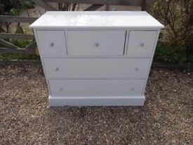 LARGE PINE CHEST OF DRAWERS -- 5 DRAWER --PAINTED FARROW +BALL WHITE PAINT --