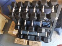 BRAND NEW IN BOX HEX DUMBBELL PAIRS FROM 5KG TO 30KG (RACK NOT INCLUDED) BY FITBOD TM