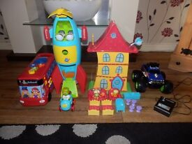toy bundle Henry huggle-monster, r/c Monster truck, learning bus & carousel rocket ship