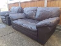 Leather brown set of single chair and 2 seater
