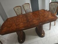 Classic wooden dining table with 6 chairs and matching sideboard