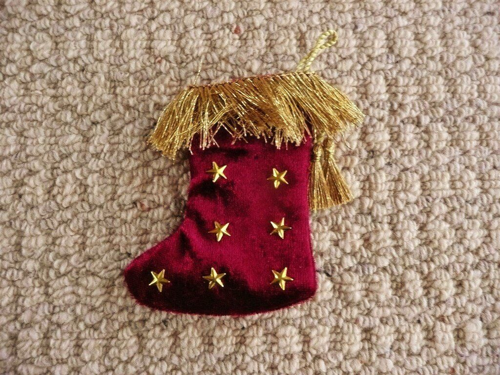 Red Fabric & Gold Star Christmas Stocking Tree Decoration Xmas Tree Ornament