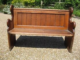 VICTORIAN CHURCH PEW. Other pews for sale. DELIVERY POSS. Also chapel chairs & teacher's school desk