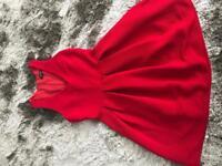Topshop Red Skater Dress Size 10