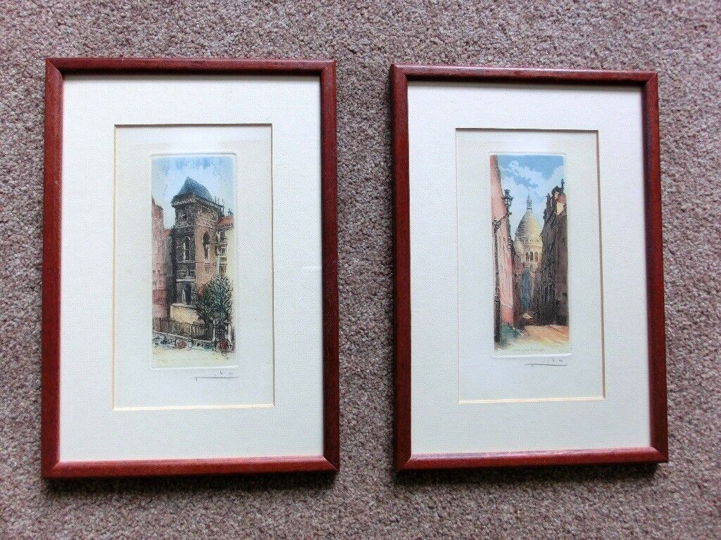 Two Retro / Vintage Paris Prints very unusual W8in/20cm H11.5in/29cm