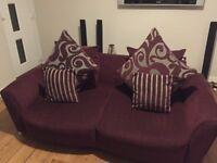 Two three seater sofas plus pouffe
