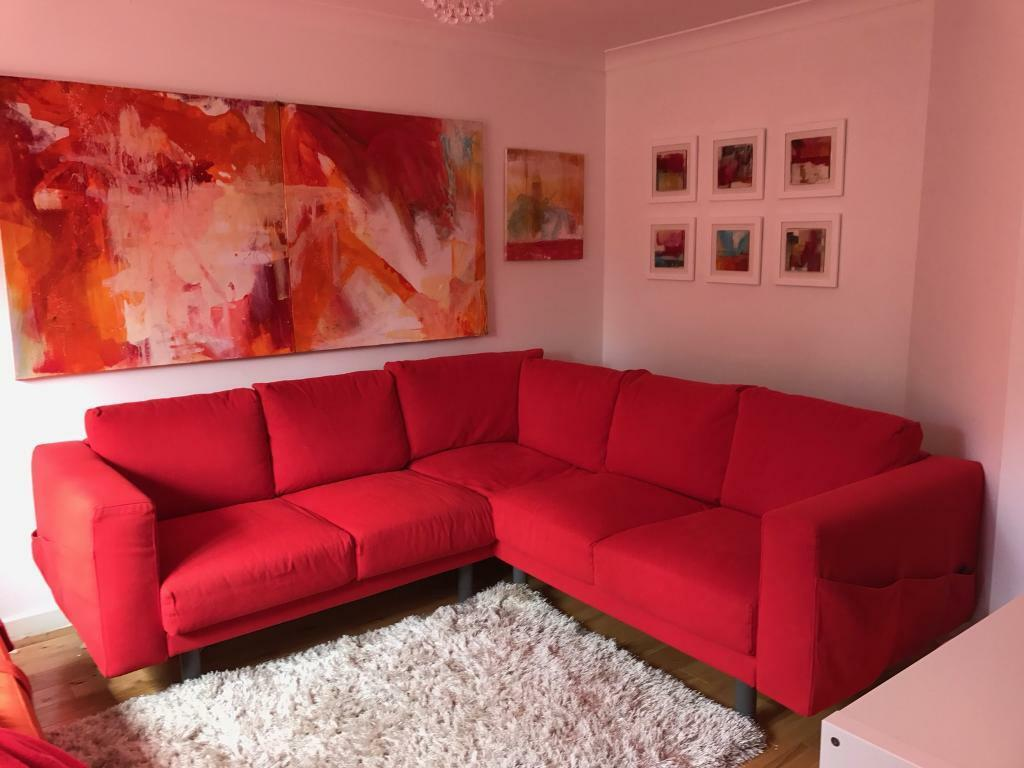 Norsborg ikea red corner sofa in taunton somerset gumtree for Red corner sofa