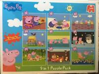 Peppa pig 9 puzzle set with varying difficulty