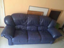 blue leather 3 piece suite £150