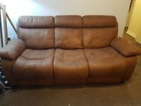 3 seater brown sofa, faux suede