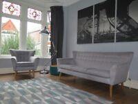 Grey BARKER & STONEHOUSE Mid Century 3 Seater Sofa & Armchair
