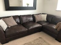 Italian leather large corner sofa plus one seater, year old, immaculate condition