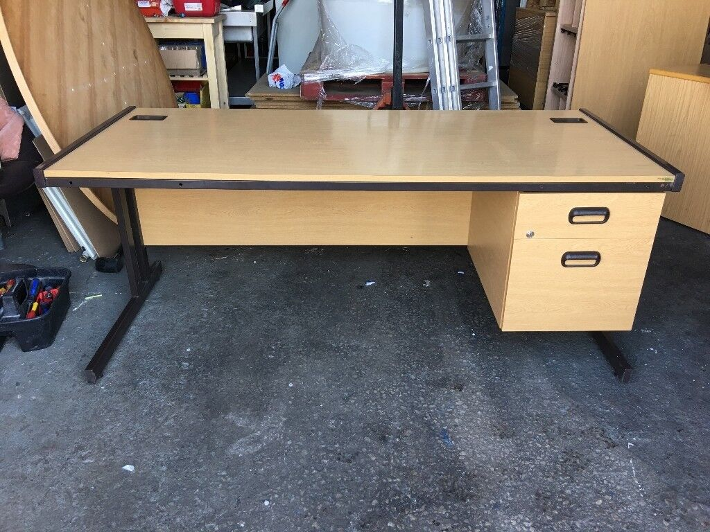 LIGHT OAK STEEL FRAME DESK WITH DRAWERS 1700mm X 750mm