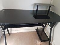 Black shiny desk
