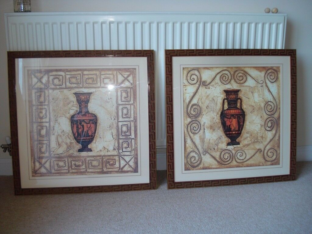 2 Square Designer Pictures Wall Art, Terracotta Egyptian Key Style Frame with Vases & Hieroglyphics