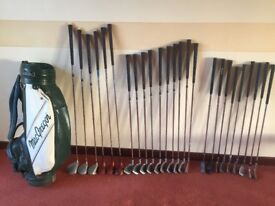 25 used golf clubs and bag