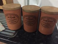 Vintage Country Tea Sugar Coffee Ceramic Set with Wooden lids
