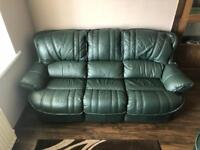Thomas Lloyd Money Green leather 3 seater sofa with 2 armchairs 1 recliner