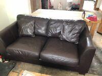 2x Chocolate Brown leather Sofa