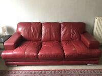 RED FAUX LEATHER SOFA FOR SALE