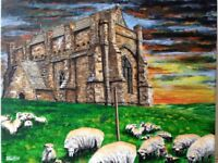 Hand painted original art of Abbotsbury St Catherines Chapel, oil painting on 14x11 boxed canvas