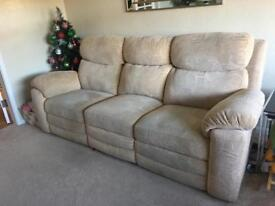 2 electric rise recliners and 3 seater sofa