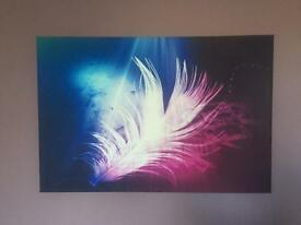 Feather Canvas Wall Art. Purple Pink Blur