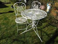 patio metal table with two chairs
