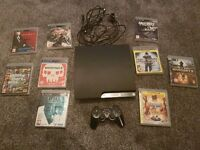 ps3 console 320gb wires 1 pad 9 games