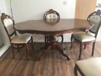 Victorian style burr walnut dinning table and chairs