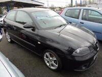 SEAT IBIZA 1390cc SPORT 3 DOOR HATCH 2007-57, BLACK, LOOK ONLY 65K