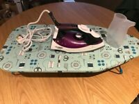 Purple Morphy Richards Turbosteam Iron with Diamond Soleplate and tabletop ironing board