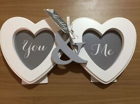 Double Heart wooden Ivory Photo frame £15 ONO (Ideal for a Wedding/Engagement/Gift)