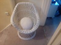 White wicker chair adult/ childs peacock chair