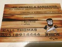 Joiner gardening building maintenance work