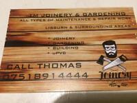 Joiner gardening building maintenance work