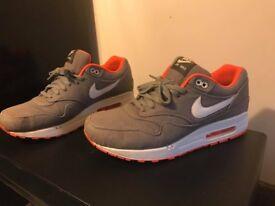Nike air max 1 size nine Grey Denim neon orange rare