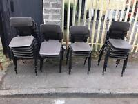 Selection of plastic stacking chairs on black metal legs £10 each