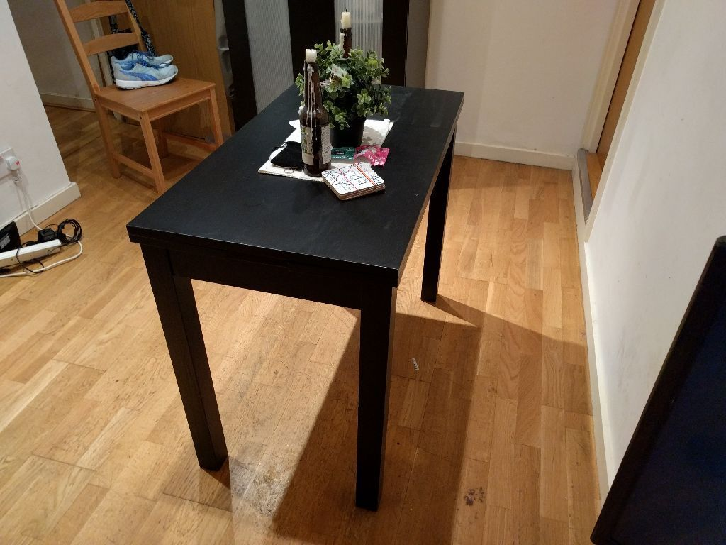 Ikea Bjursta Dining Table Extendable Table Black Sits 1 2 compact