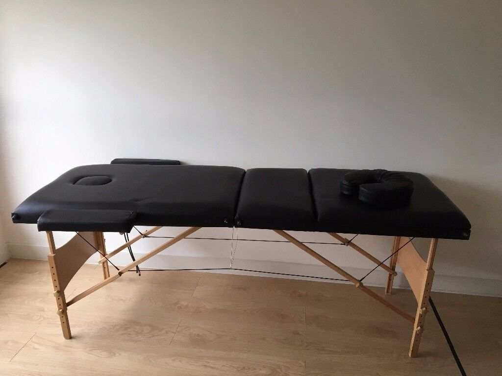 Fold Portable Massage Table Facial Spa Bed Tattoo with Carry Case Black