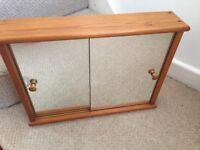 Bathroom cabinet, mirror, shelf and towel rail - solid wood