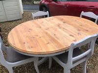 Extending Solid Pine Dining Table & 4 Chairs