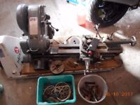 MYFORD SUPER7 LATHE WITH POWER CROSS FEED AND OTHER PARTS AS PER PICTURES